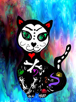 Dia de Muertos Kitten by Abstract Angel Artist Stephen K
