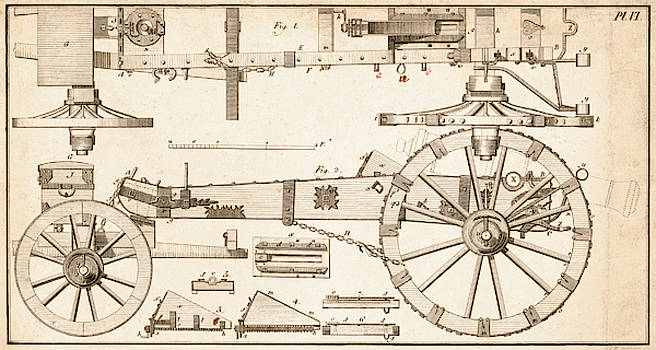Daniel Hagerman - DIAGRAM of a CANNON CARRIAGE c. 1700