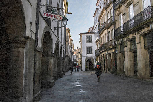 Digital drawing of a street in Santiago de Compostela by Vicen Photography