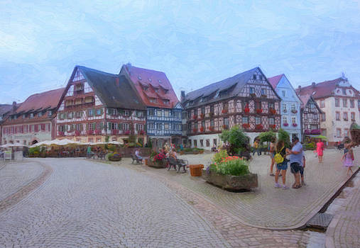 Digital drawing of the pretty Gengenbach village in Germany by Vicen Photography