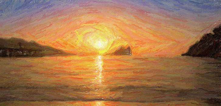 Digital painting of a sunrise on the beach by Vicen Fotografia