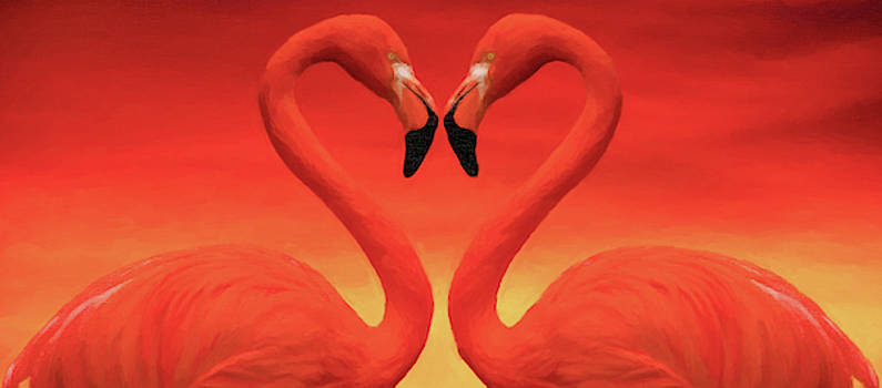 Digital painting of two flamingos forming a heart at sunset by Vicen Fotografia
