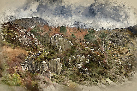 Digital watercolor painting of Beautiful moody landscape images  by Matthew Gibson
