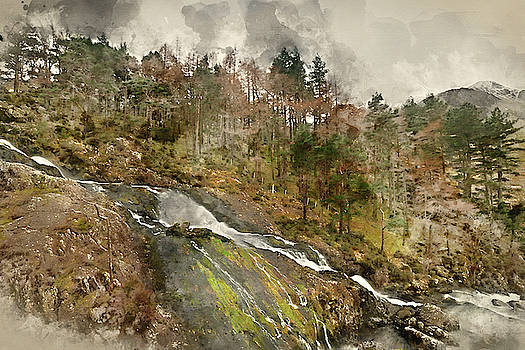 Digital watercolor painting of Stunning landscape image of Ogwen by Matthew Gibson