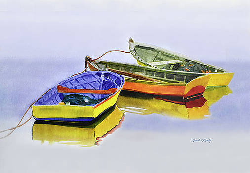 Dingy Boats Watercolor by Sandi OReilly