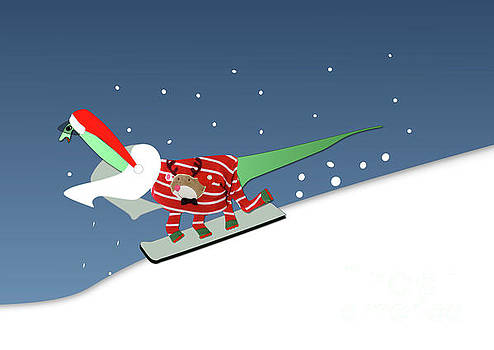 Dinosaur Snowboarding in Ugly Christmas Jumper by Barefoot Bodeez Art