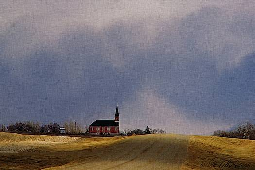 Distant Red Church on a Stormy Day by Images Undefined