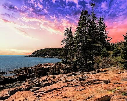 Distant view of Otter Cliffs,Acadia National Park,Maine. by Rusty R Smith