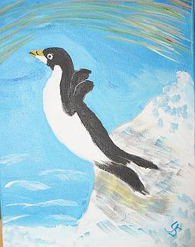 Diving Penquin by Yvonne Sewell