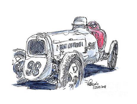Frank Ramspott - DKW F1 Monoposto 1931 Classic Racecar Ink Drawing and Watercolor