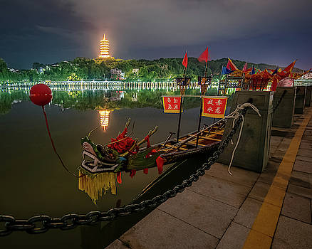 Docked Dragon Boat at Night I by William Dickman