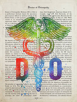 Doctor of Osteopathy Gift Idea With Caduceus Illustration 03 by Aged Pixel