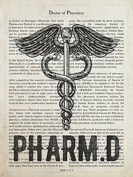 Doctor of Pharmacy Gift Idea With Caduceus Illustration 01 by Aged Pixel