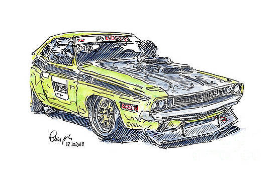 Frank Ramspott - Dodge Challenger Racecar Ink Drawing and Watercolor