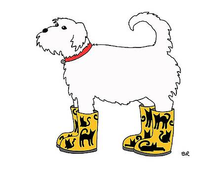 Dog with Cat Boots by Sarah Rosedahl