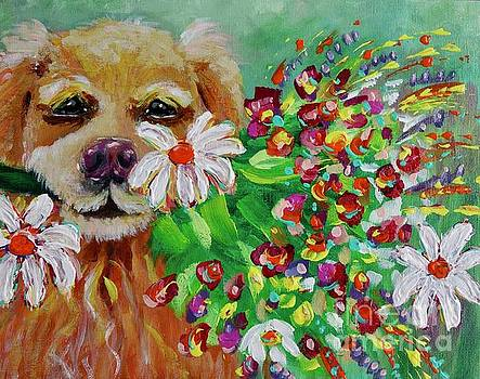 Dog With Flowers by Jacqueline Athmann