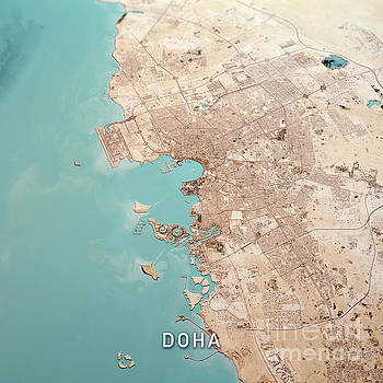 Frank Ramspott - Doha Qatar 3D Render Topo Landscape View From North Feb 2019