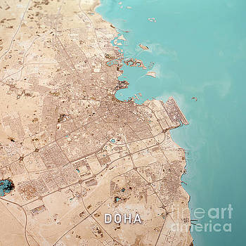 Frank Ramspott - Doha Qatar 3D Render Topo Landscape View From South Feb 2019