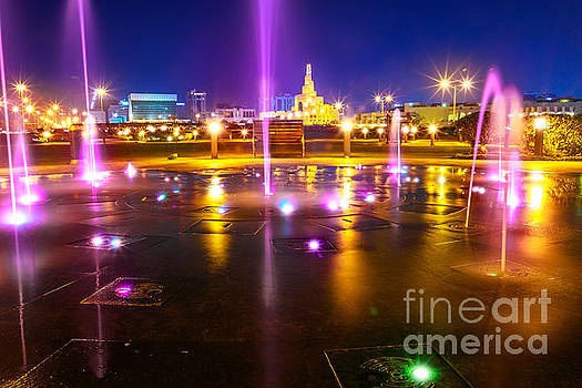 Doha water fountain night by Benny Marty