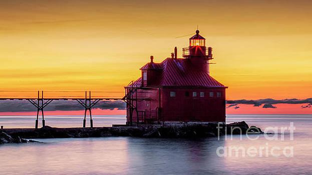 Door County Lighthouse sunrise by Randy Kostichka