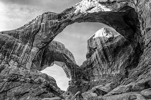 Double Arch in Arches National Park Black and White Print by Stephanie McDowell
