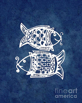 Double fishes on blue by Delphimages Photo Creations