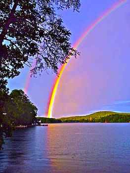 Double Rainbow Across a Lake by Susan Leggett
