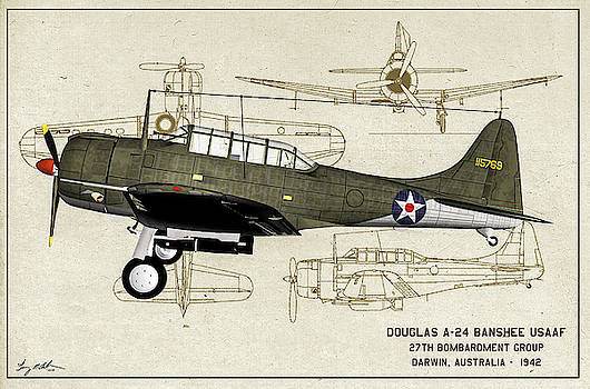 Douglas A-24 Dive Bomber - Oil by Tommy Anderson