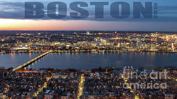 Downtown Boston at Night With Charkes River in the Middle by PorqueNo Studios