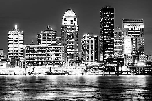 Downtown Louisville Kentucky Skyline at Dusk - Black and White by Gregory Ballos
