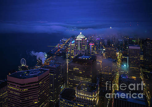 Downtown Seattle Before Dawn by Mike Reid