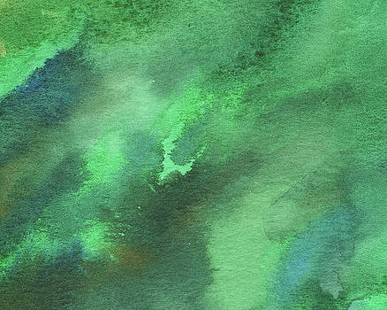 Dramatic Organic Green Abstract In Watercolor  by Irina Sztukowski
