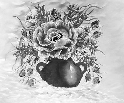 Dreamy Floral rose gray by Angela Whitehouse