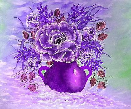 Dreamy floral rose purple  by Angela Whitehouse