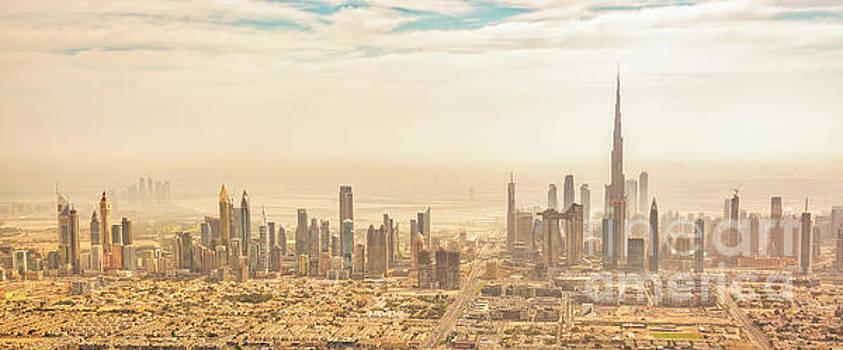 Dubai skyline panorama by Delphimages Photo Creations
