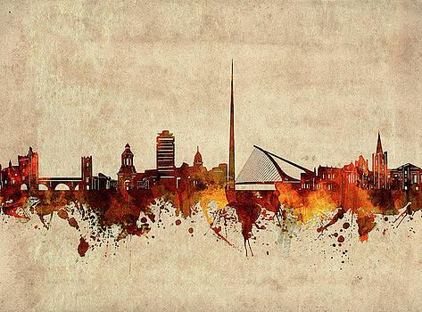 Dublin Skyline Sepia by Bekim Art