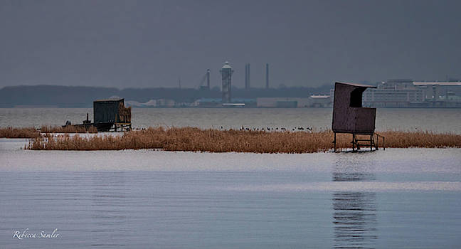 Duck Blinds on Presque Isle Bay by Rebecca Samler
