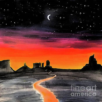 dusk in Monument Valley by Shelley Myers