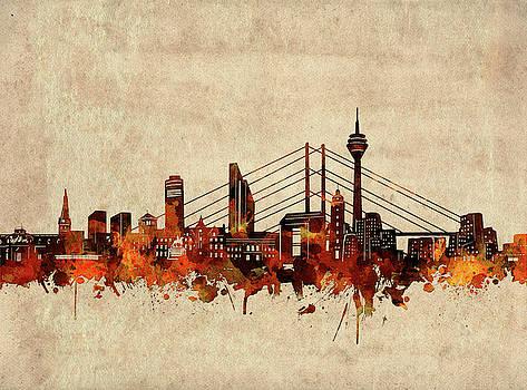Dusseldorf Skyline Sepia by Bekim Art