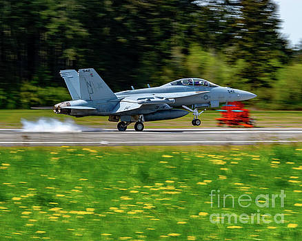 Ea-18g Growler Nicely Leaving For Olf A Cloud Of Burning Rubber by Joe Kunzler