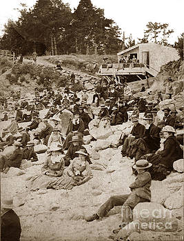 California Views Archives Mr Pat Hathaway Archives - Early beach-goers at the Main beach near Lovers Point Pacific Grove  circa 1885