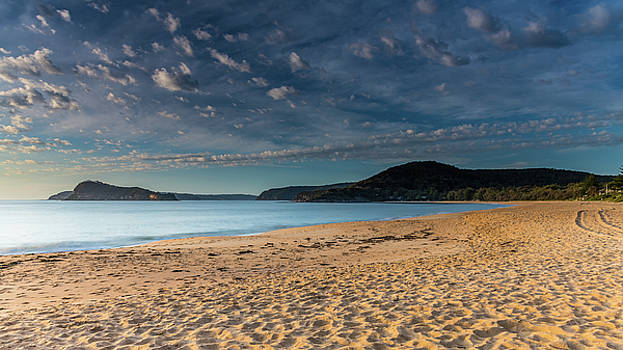 Early Morning at the Beach with Clouds by Merrillie Redden