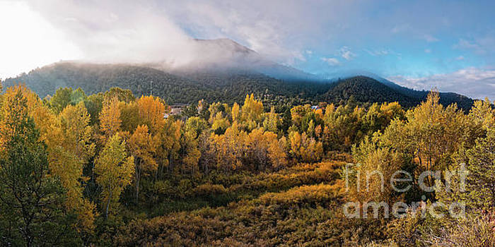 Early Morning Panorama of Changing Aspens and Picacho Peak - Twomile Reservoir - Santa Fe New Mexico by Silvio Ligutti