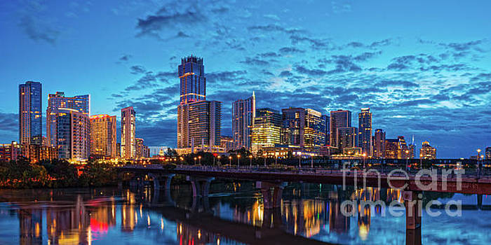Early Morning Panorama of Downtown Austin from South Lamar Bridge over Lady Bird Lake - Austin Texas by Silvio Ligutti