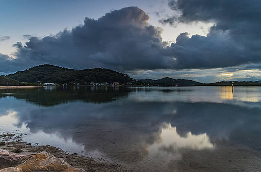 Early Morning Rain Clouds Reflections over the Bay by Merrillie Redden
