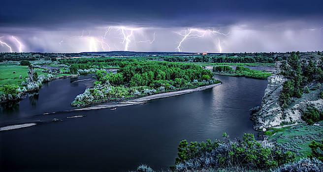 East Montana Lightning Storm by Leland D Howard