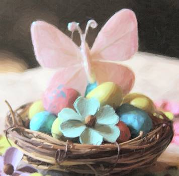 Cathy Lindsey - Easter Eggs And Butterfly In Nest 2