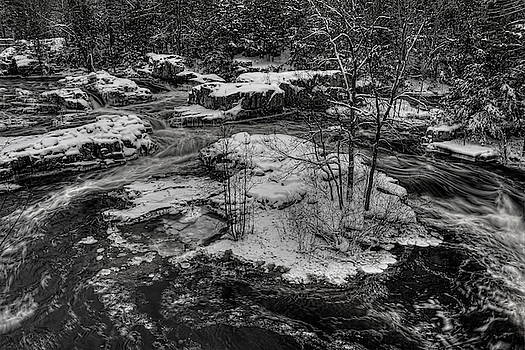 Dale Kauzlaric - Eau Claire Dells Snow Covered Island BW