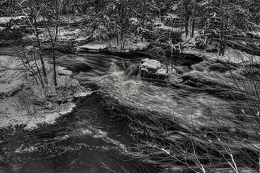 Dale Kauzlaric - Eau Claire River Through Snow Covered Islands BW