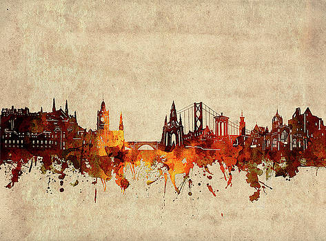 Edinburgh Skyline Sepia by Bekim Art